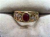 Ruby Lady's Stone & Diamond Ring 2 Diamonds .010 Carat T.W. 10K Yellow Gold